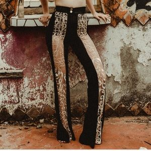 ✨ Velvet + lace window pants - high waisted✨